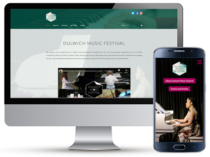 Desktop and mobile homepage for Dulwich Music Festival, a website designed by Red Balloon Web