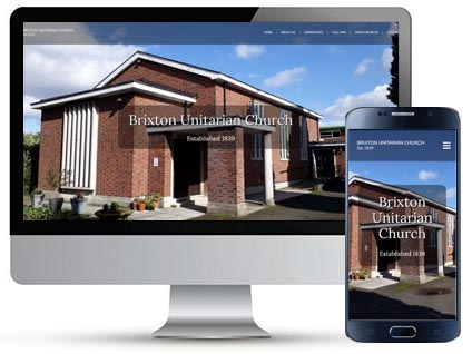 Desktop and mobile homepage for Effra Road Chapel, a website designed by Red Balloon Web