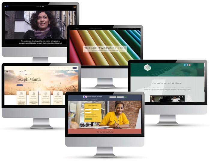 5 desktop monitors displaying websites designed by Red Balloon Web