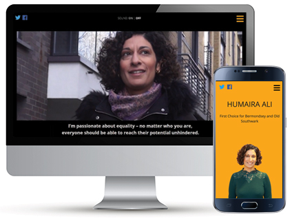 Desktop and mobile homepage of election campaign website for Humaira Ali, a website designed by Red Balloon Web