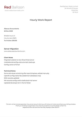 A Red Balloon work report showing work carried out and hours taken
