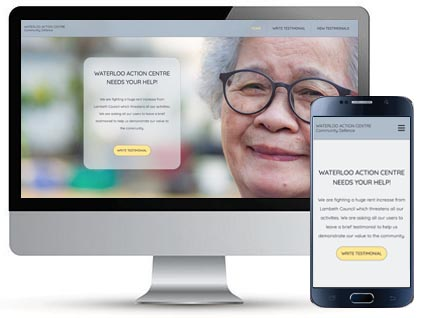 Desktop and mobile homepage for WAC Community Defence, a website designed by Red Balloon Web