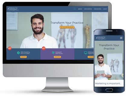 Desktop and mobile homepage for Websites for Osteopaths, a website designed by Red Balloon Web