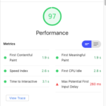 Screenshot showing 97% performance on Google lighthouse audit