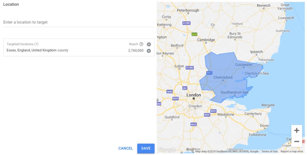 Screenshot showing Google keyword tool location setting