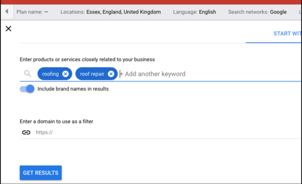 Google keywords tool showing our products and services