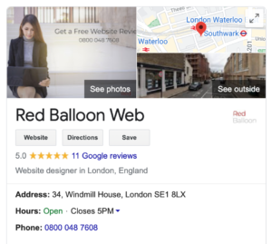 Google My Business listing for Red Balloon Web