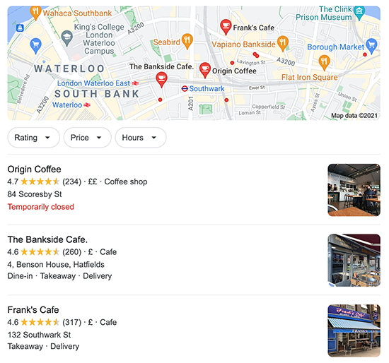 Screenshot of Google local pack for coffee shop
