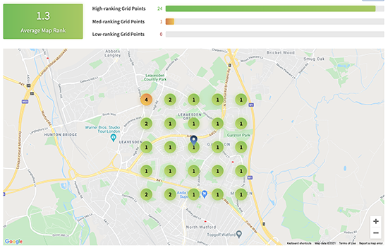 Local search grid with ranking positions overlaid over map